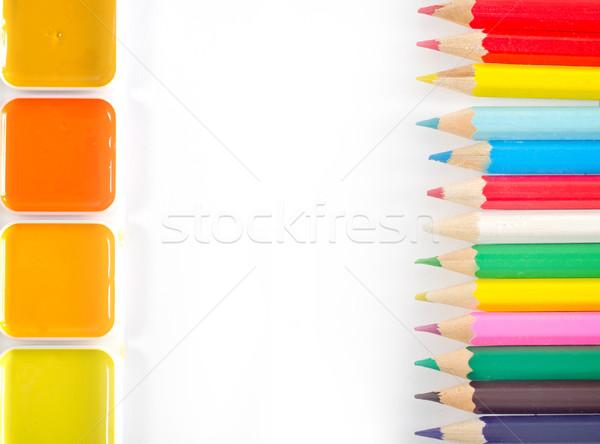 Tanszerek textúra festék zöld kék rajz Stock fotó © tycoon