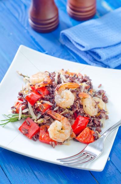 Stock fotó: Sült · rizs · zöldségek · utca · piros · kínai