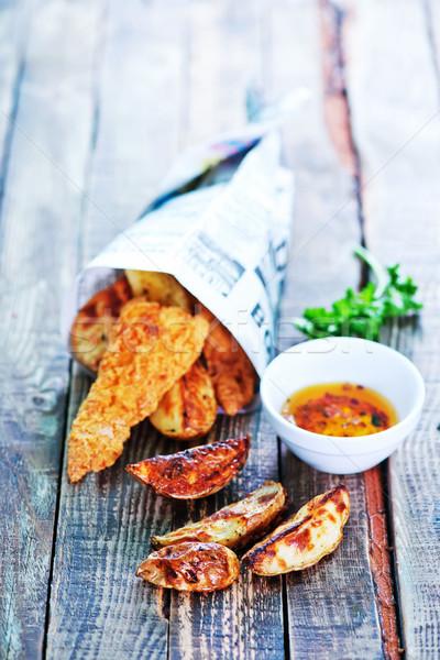 Vis chips houten tafel papier krant zomer Stockfoto © tycoon