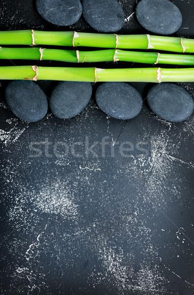 Foto d'archivio: Basalto · bambù · verde · nero · tavola · foglia