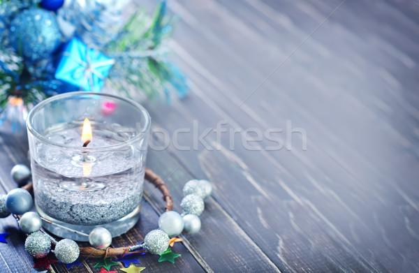 Natale candela bellezza tavola buio carta Foto d'archivio © tycoon