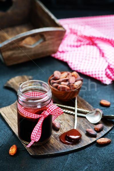Сток-фото: шоколадом · кремом · стекла · банка · таблице · Бар