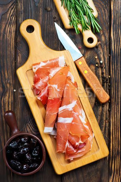Prosciutto bordo fette gustoso spagnolo alimentare Foto d'archivio © tycoon