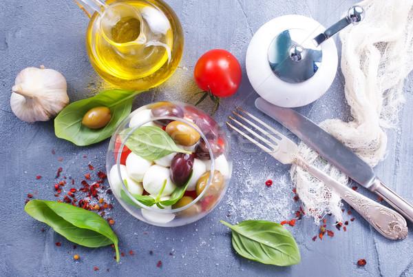 Caprese caprese salatası cam çanak tablo gıda Stok fotoğraf © tycoon