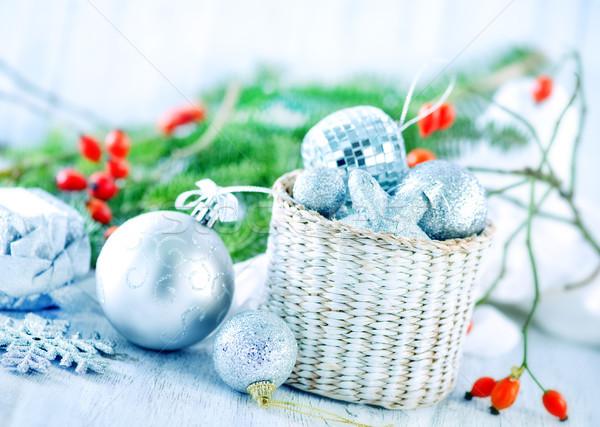 Foto stock: Natal · decoração · mesa · de · madeira · luz · tabela · dom
