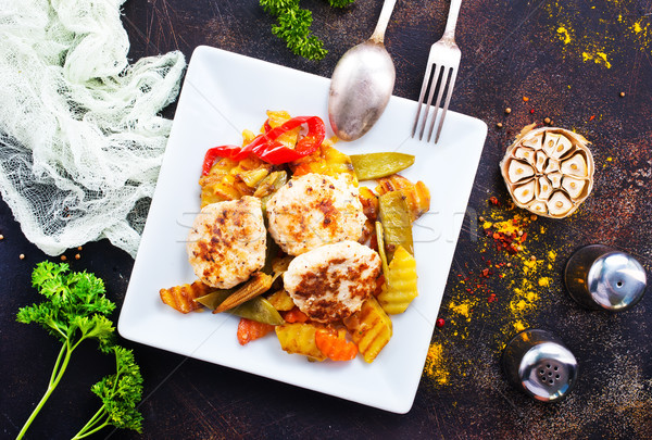 baked vegetables with cutlet Stock photo © tycoon