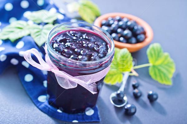 Fekete ribiszke lekvár étel fa levél Stock fotó © tycoon