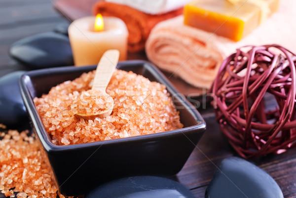 海塩 石鹸 タオル キャンドル 油 スパ ストックフォト © tycoon