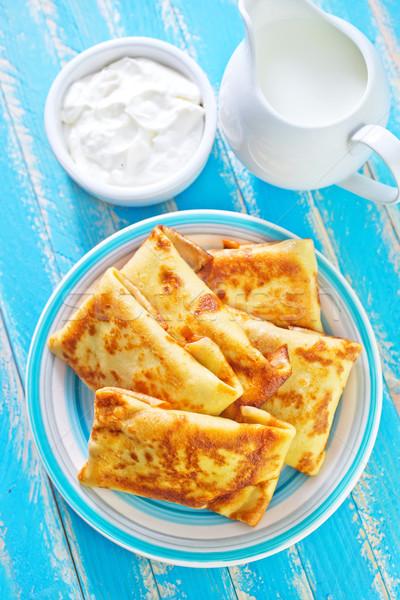 Palacsinták gyümölcs sajt szín reggeli kövér Stock fotó © tycoon