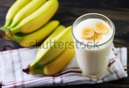 Muz yoğurt sağlık süt kaşık taze Stok fotoğraf © tycoon