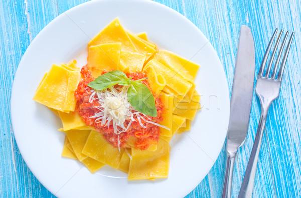 Macarrão molho comida folha fundo jantar Foto stock © tycoon