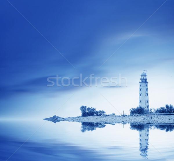 Stok fotoğraf: Deniz · feneri · plaj · gökyüzü · güneş · ışık · deniz