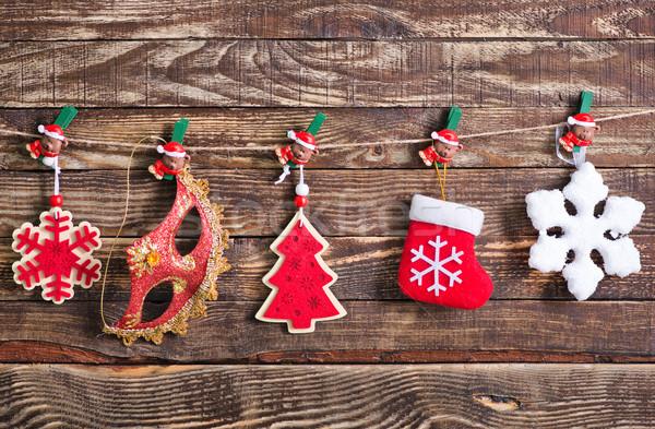 Foto stock: Natal · decoração · mesa · de · madeira · luz · fundo · dom