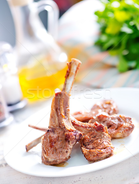 Sült kotlett hús fűszer asztal étel Stock fotó © tycoon