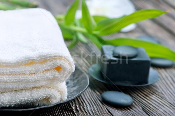 Spa oggetti tavola massaggio corpo foglie Foto d'archivio © tycoon