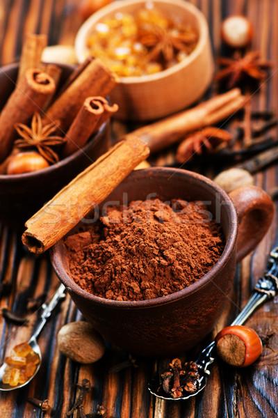 Pó tempero tabela chocolate fundo Foto stock © tycoon
