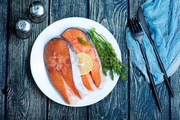 Taze somon baharat tablo gıda deniz Stok fotoğraf © tycoon