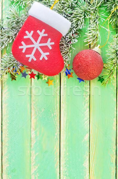Рождества украшение древесины природы окна зеленый Сток-фото © tycoon