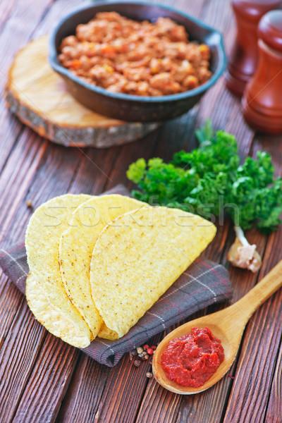 Tacos Meksika sarı mısır tortilla boş Stok fotoğraf © tycoon