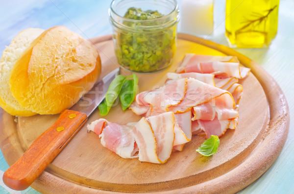 Bacon vidro carne faca café da manhã estúdio Foto stock © tycoon