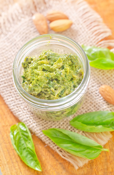 Foto stock: Pesto · verde · queijo · fresco · noz · alho