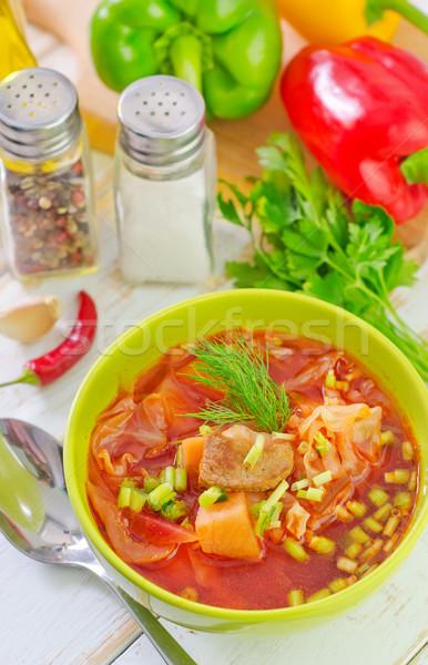 Burak zupa żywności restauracji obiedzie czerwony Zdjęcia stock © tycoon