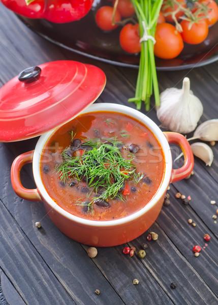 Sopa de frijol alimentos rojo carne tomate sopa Foto stock © tycoon