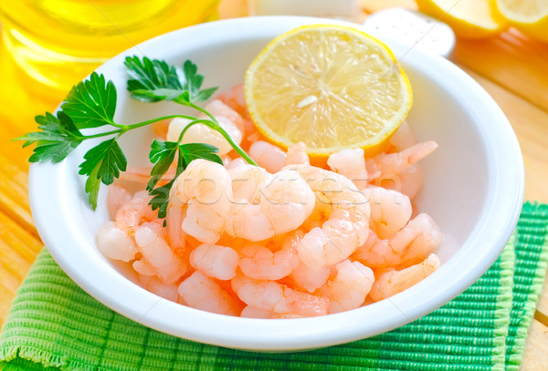 Stock photo: boiled shrimps in the white bowl on the table
