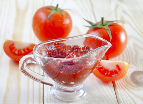 Salsa de tomate rojo tomate agricultura cuchara crema Foto stock © tycoon