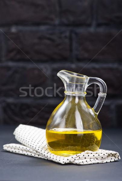 Napraforgóolaj üveg üveg asztal virág étel Stock fotó © tycoon