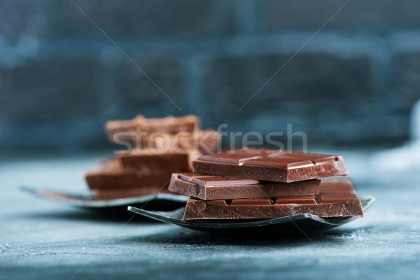 Chocolate cacau metal prato tabela gordura Foto stock © tycoon