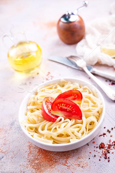 Főtt tészta paradicsom háttér zöld sajt Stock fotó © tycoon