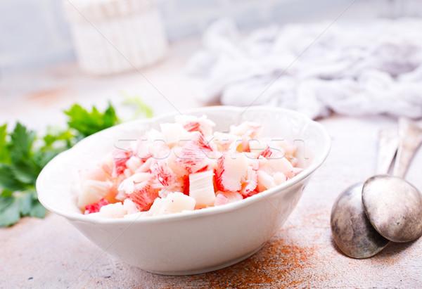 Caranguejo prato vara salada comida madeira Foto stock © tycoon