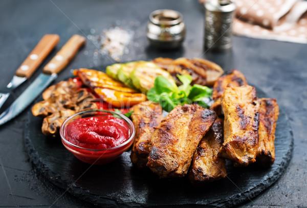 Gegrild vlees vlees saus voorraad foto voedsel Stockfoto © tycoon