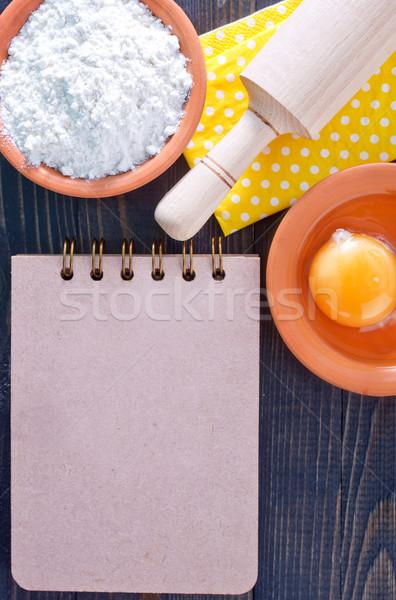 Malzemeler kâğıt mutfak tablo pişirme dikkat Stok fotoğraf © tycoon