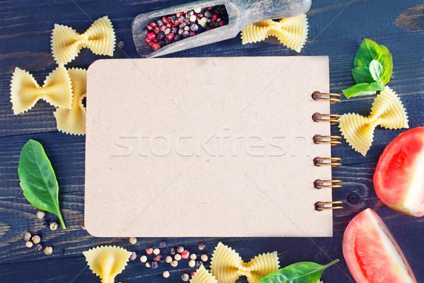 Foto stock: Bloc · de · notas · especias · mesa · papel · alimentos