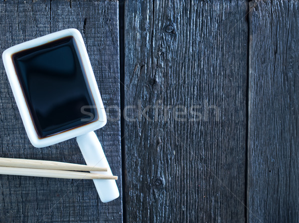 Sos sojowy bambusa żywności drewna biały asia Zdjęcia stock © tycoon