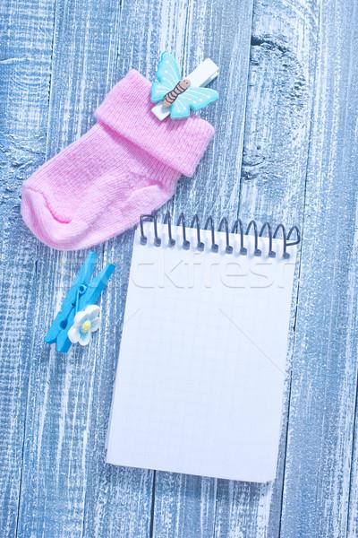 Baby kleding nota sokken verjaardag achtergrond Stockfoto © tycoon