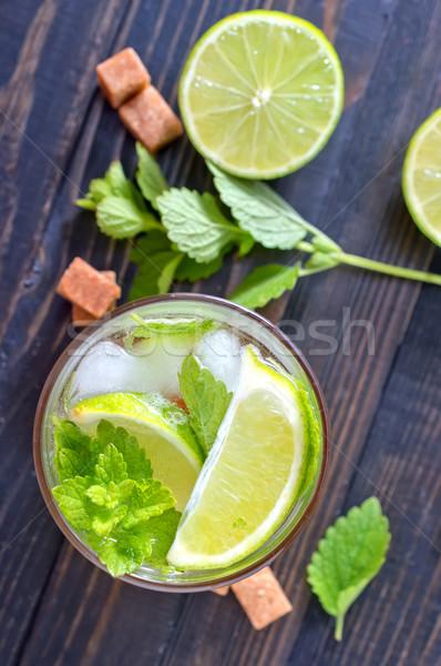 Mojito fundo verão coquetel faca escuro Foto stock © tycoon
