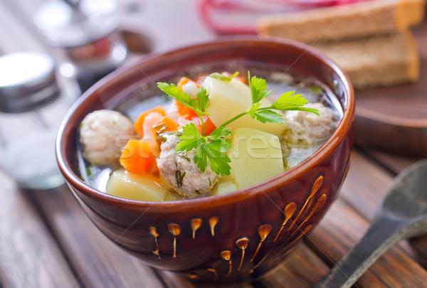 świeże zupa żywności restauracji zielone piłka Zdjęcia stock © tycoon