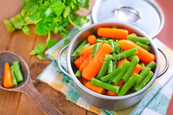 Wortel groene bonen gezondheid groene asian lifestyle Stockfoto © tycoon