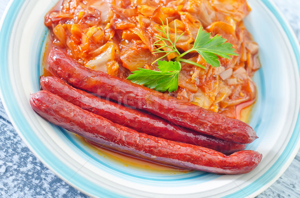 fried cabbage with sausages Stock photo © tycoon