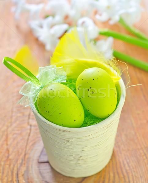Paskalya yumurtası bahar gıda çim mutlu dizayn Stok fotoğraf © tycoon