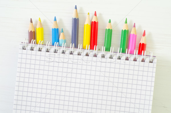 Fournitures scolaires affaires bureau main crayon espace Photo stock © tycoon