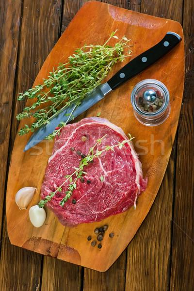 Crudo carne mesa de cocina alimentos fondo Foto stock © tycoon