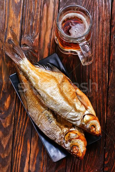 Füstölt hal tányér asztal papír fa Stock fotó © tycoon