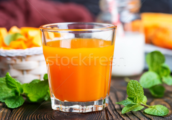 Iki yüzlü taze kabak meyve suyu tablo arka plan Stok fotoğraf © tycoon