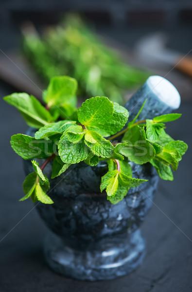 Mint vers kom aroma kruid keukentafel Stockfoto © tycoon