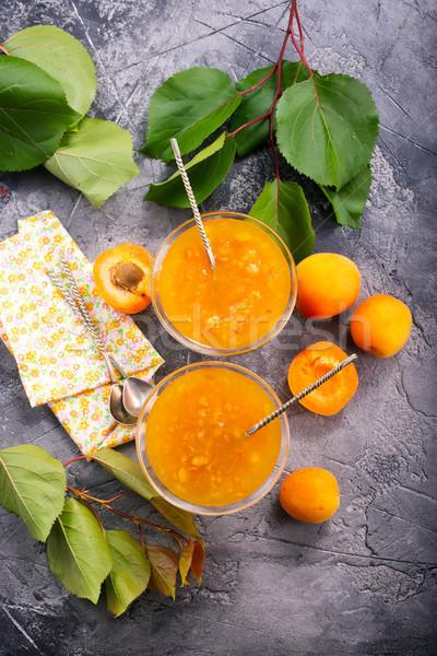 Albaricoque atasco vidrio tazón mesa frutas Foto stock © tycoon