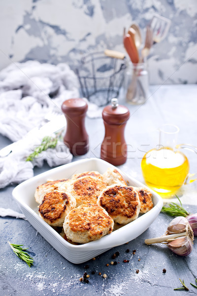 Poulet blanche bol table dîner viande Photo stock © tycoon